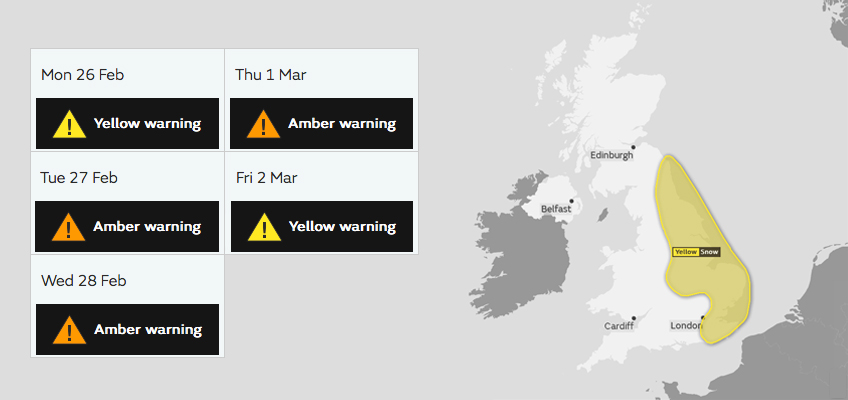 Weather warnings in place over the UK